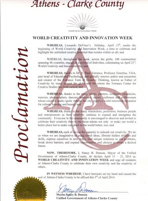 2014 Athens Georgia Proclamation